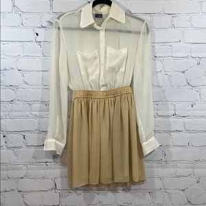 Sparkle & Fade tan and cream sheer top dress xs